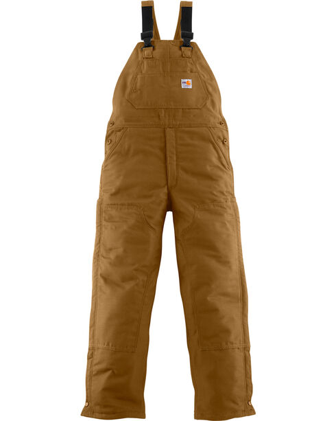 Carhartt Men's Flame-Resistant Midweight Quilt-Lined Bib Overalls, Carhartt Brown, hi-res