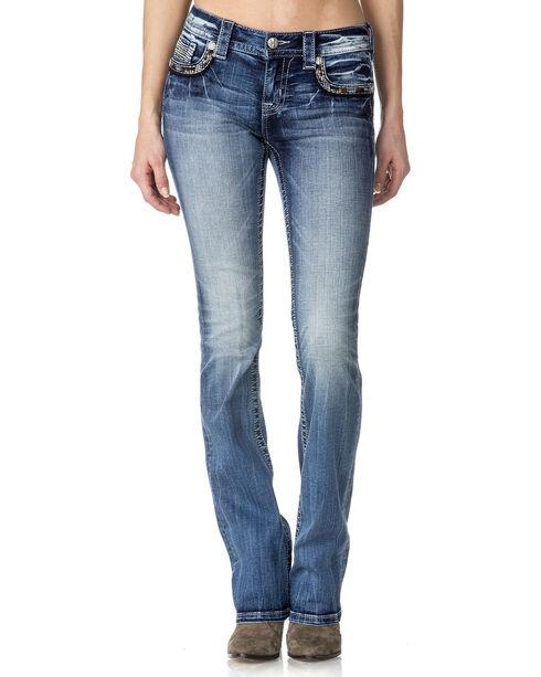 Miss Me Women's Mid Rise Trimmed Pocket Jeans - Boot Cut , , hi-res