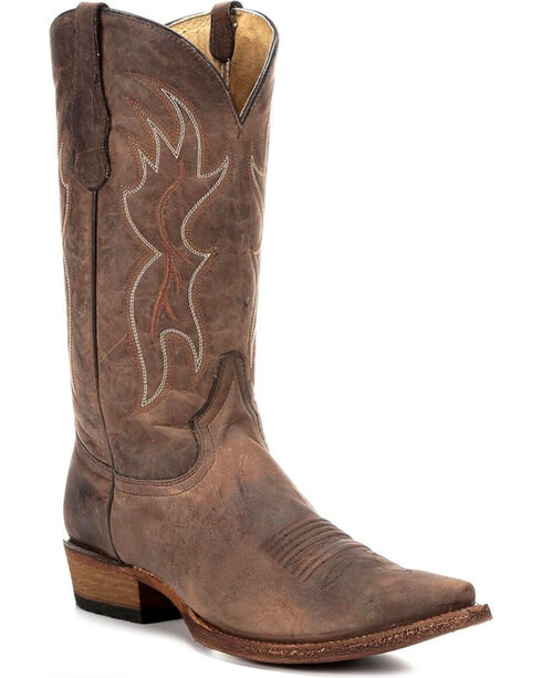 Circle G Men's Basic Snip Toe Western Boots, Tan, hi-res