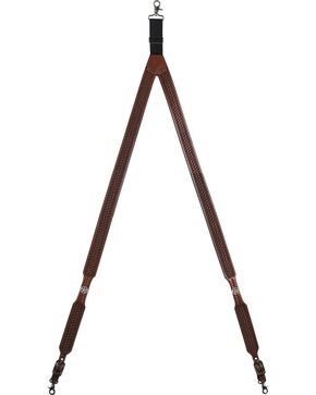 3D Basketweave Star Concho Suspenders - Large, Tan, hi-res