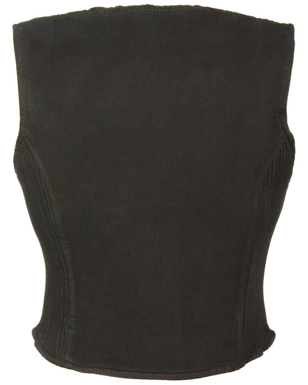 Milwaukee Leather Women's Side Stretch Zipper Front Denim Vest - 5X, , hi-res