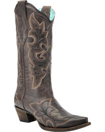 Corral Vintage Brown Scalloped Cowgirl Boots - Snip Toe , , hi-res