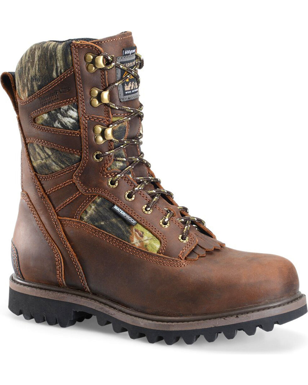 "Carolina Men's 10"" Waterproof Insulated Camo Field Work Boots , Medium Brown, hi-res"
