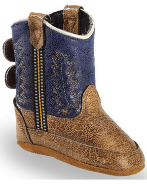 Lil' Boot Barn Infant Boys' Navy Boots - Round Toe, Brown, hi-res