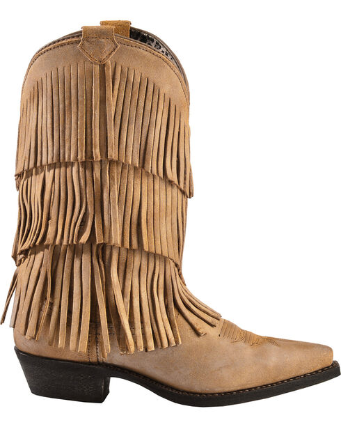 Dingo Women's Triple Layered Fringe Western Fashion Boots, Tan, hi-res