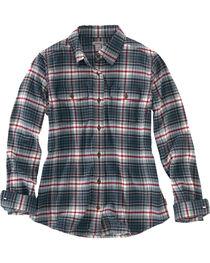 Carhartt Women's Hamilton Plaid Flannel Shirt, Navy, hi-res