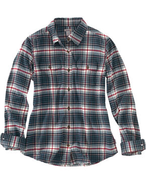 Carhartt Women's Hamilton Plaid Flannel Shirt, Navy, hi-res