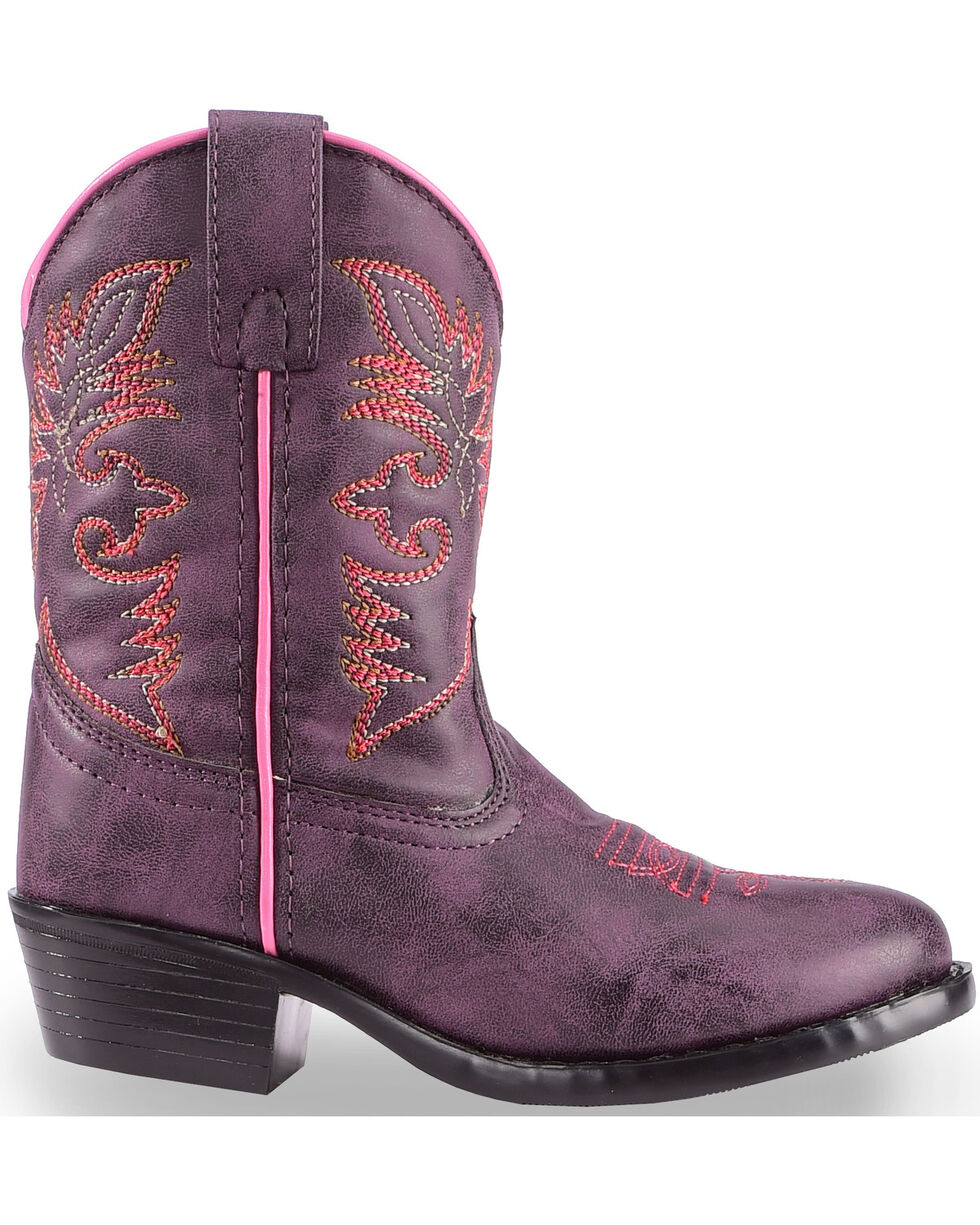 Laredo Girls' Purple Cowboy Boots - Round Toe , Purple, hi-res