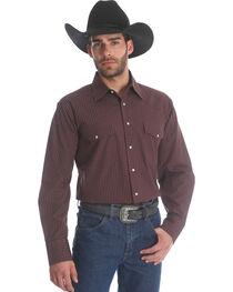 Wrangler Men's Burgundy Wrinkle Resistant Western Shirt , , hi-res