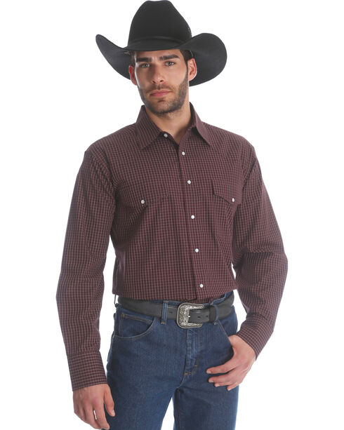 Wrangler Men's Burgundy Wrinkle Resistant Western Shirt , Burgundy, hi-res
