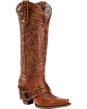 Lane Women's Stud Rocker Western Fashion Boots, Brown, hi-res