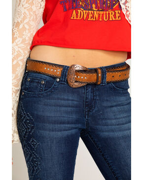 Shyanne Women's Multi Concho and Bling Belt, Turquoise, hi-res
