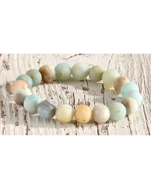 Shyanne Women's Aqua Natural Beaded Stone Bracelet, Aqua, hi-res