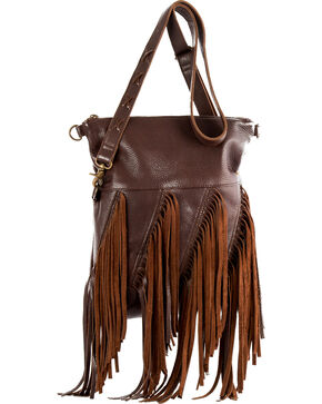 STS Ranchwear Freebird Fringe Concealed Carry Handbag, Chocolate, hi-res