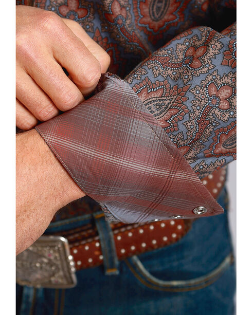 Stetson Men's Paisley Print Long Sleeve Snap Shirt - Big & Tall, Grey, hi-res