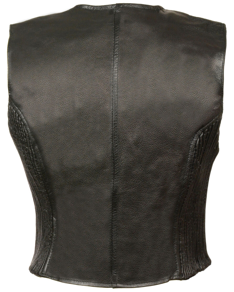Milwaukee Leather Women's Zipper Front Side Stretch Vest - 3X, Black, hi-res
