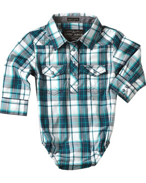 Cody James® Infant Boys' Plaid Long Sleeve Onesie , Blue, hi-res
