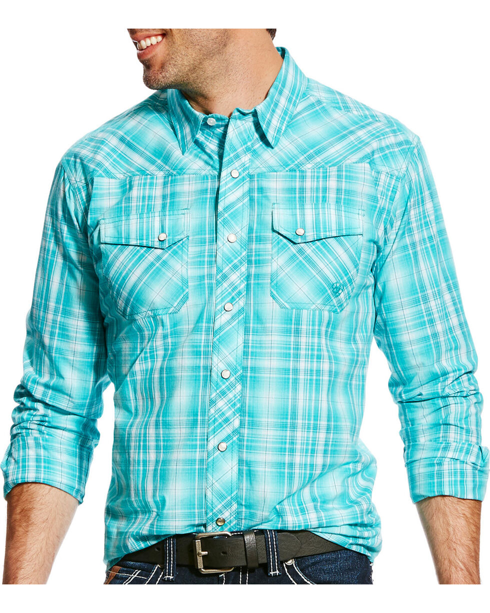 Ariat Men's Turquoise Iona Retro Plaid Shirt , Turquoise, hi-res