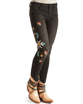 Angel Premium Women's Black Rumor Embroidered Skinny Jeans, Black, hi-res