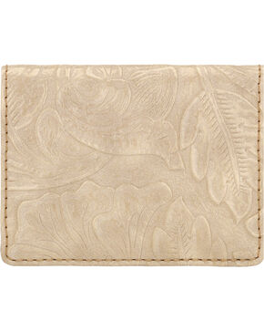 Bandana by American West Women's Floral Embossed Folded Snap Wallet, Cream, hi-res