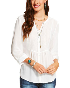 Ariat Women's White Teresa Blouse , White, hi-res