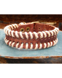 Jewelry Junkie Vintage Laced Leather Cuff, , hi-res