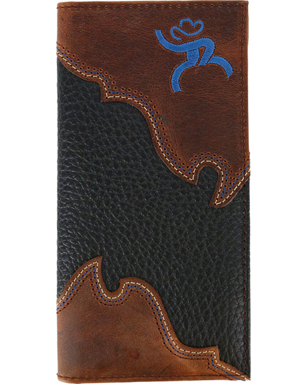 HOOey Men's Roughy Overlay Rodeo Wallet, Black, hi-res