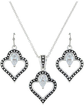 Montana Silversmiths Women's Spade Of Hearts Jewelry Set, Silver, hi-res