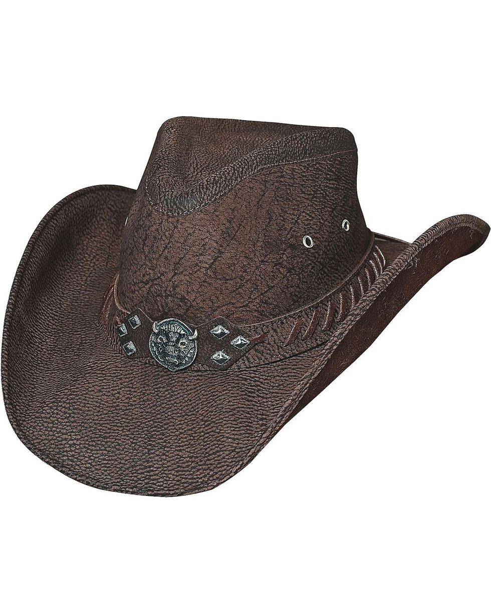 Bullhide Women's American Buffalo Leather Hat, Chocolate, hi-res