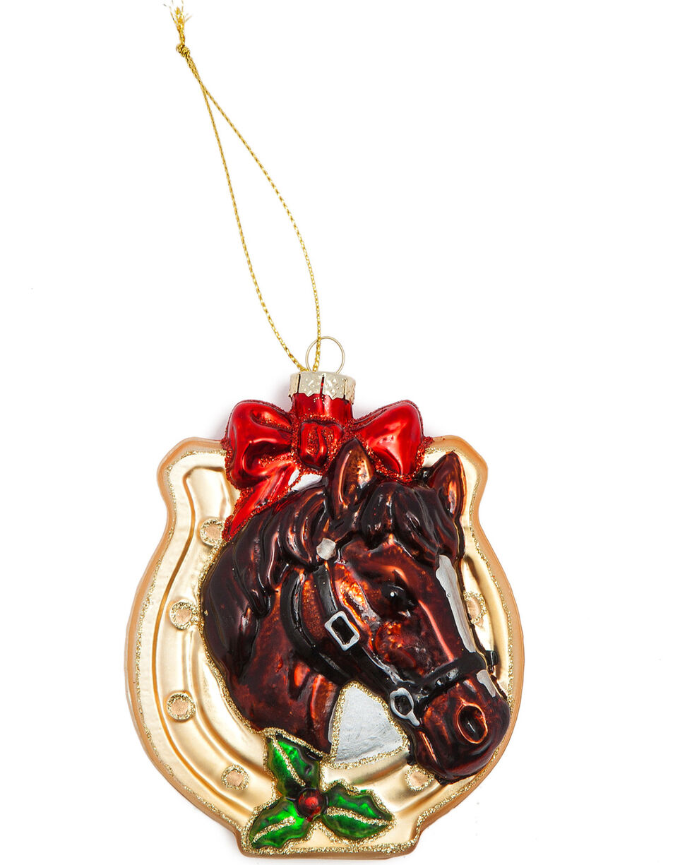BB Ranch Glittery Glass Horseshoe Ornament, No Color, hi-res