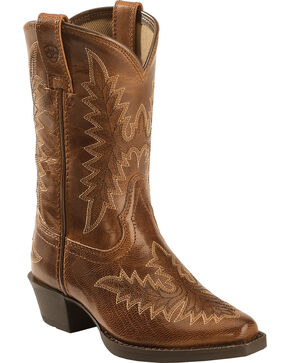Ariat Youth Girls' Brown Brooklyn Boots - Snip Toe, Tan, hi-res