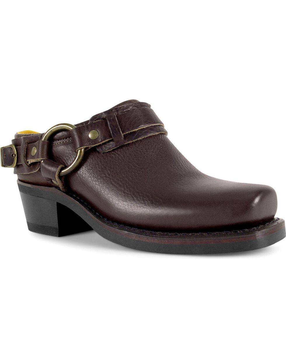 Frye Women's Classic Belted Harness Mules, Chestnut, hi-res