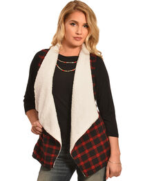 Derek Heart Women's Red and Black Plaid Sherpa Lined Waterfall Vest, , hi-res