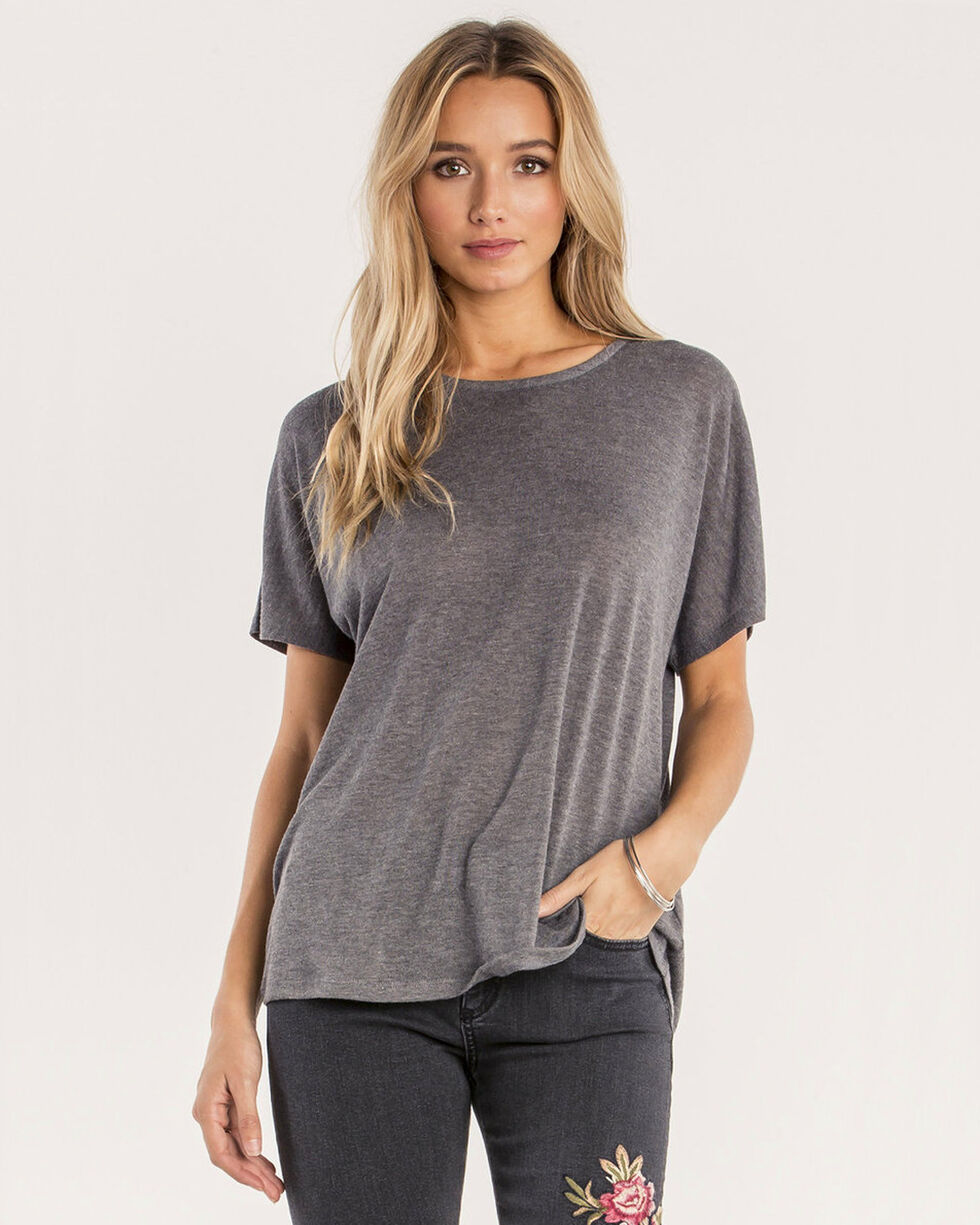 Miss Me Women's Greatest Gift Ribbon Laced Back Short Sleeve Top, Grey, hi-res