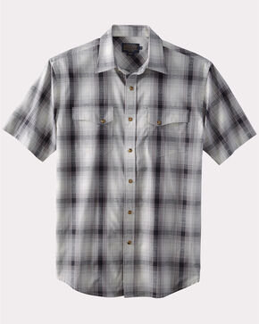 Pendleton Men's Grey Dressy Western Short Sleeve Shirt , Grey, hi-res