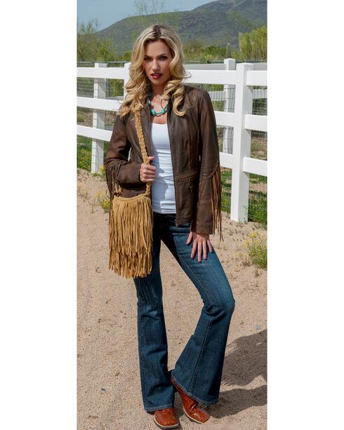 Scully Women's Fringe Leather Jacket, Brown, hi-res