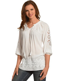 Ruby Rd. Women's Split Neck with Tassel Solid Crepe Top, , hi-res
