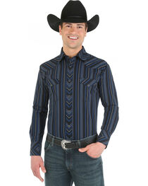 Wrangler Silver Edition Blue and Black Dobby Stripe Western Shirt, , hi-res