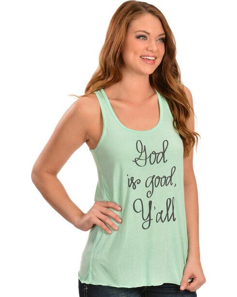 """ATX Mafia Women's Mint Green """"God is Good, Y'all"""" Tank, Mint, hi-res"""