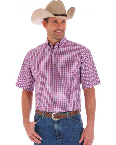 Wrangler Men's George Straight Plaid Short Sleeve Shirt, , hi-res