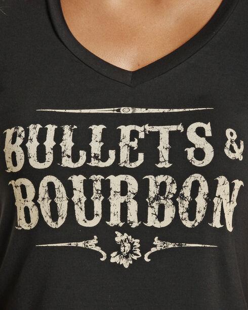 Rock & Roll Cowgirl Women's Black Bullets & Bourbon Tee , Black, hi-res