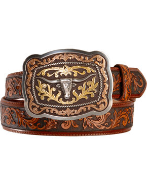 Justin San Antonio Steerhead Buckle Tooled Leather Belt - Reg & Big, Tan, hi-res