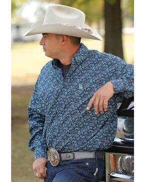 Cinch Men's Plain Weave Print Western Shirts , Green, hi-res