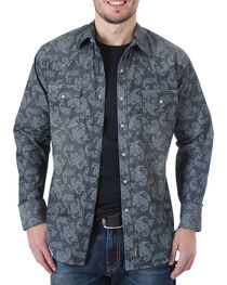 Wrangler Men's Paisley Long Sleeve Snap Shirt, , hi-res
