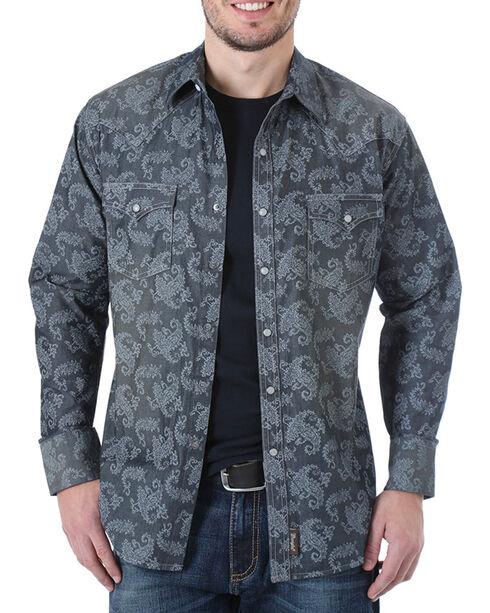 Wrangler Men's Paisley Long Sleeve Snap Shirt, Black, hi-res