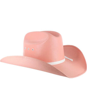 Cody James Kid's Elastic Fit Straw Cowboy Hat, Pink, hi-res