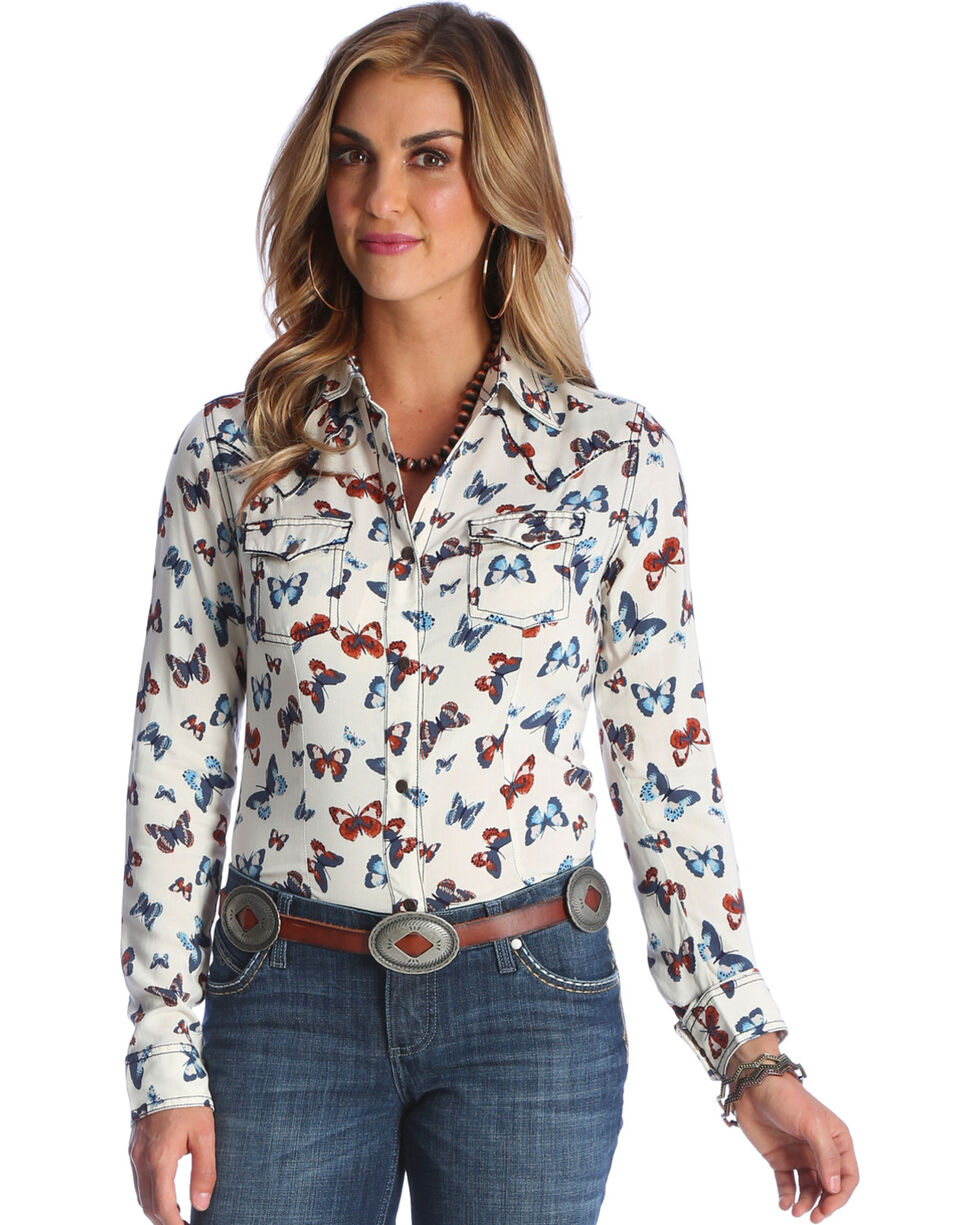 Wrangler Women's Ivory Butterfly Print Western Shirt , Ivory, hi-res