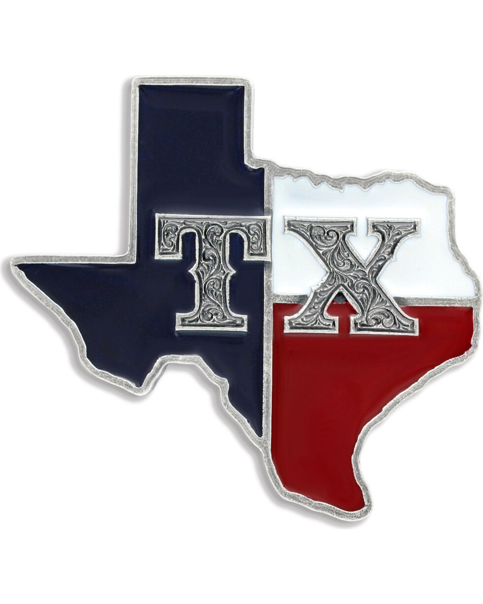 Montana Silversmiths Men's State of Texas Attitude Buckle, Antique Silver, hi-res