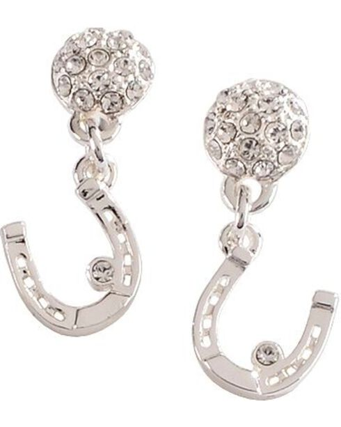 Montana Silversmiths Women's Horseshoe Dangle CZ Earrings, Silver, hi-res