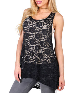 Shyanne® Women's Allover Lace Layering Tank, Black, hi-res